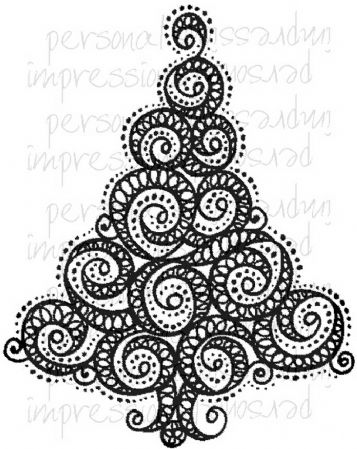 Swirly Christmas Tree Clear Rubber Stamp by Crafty Impressions